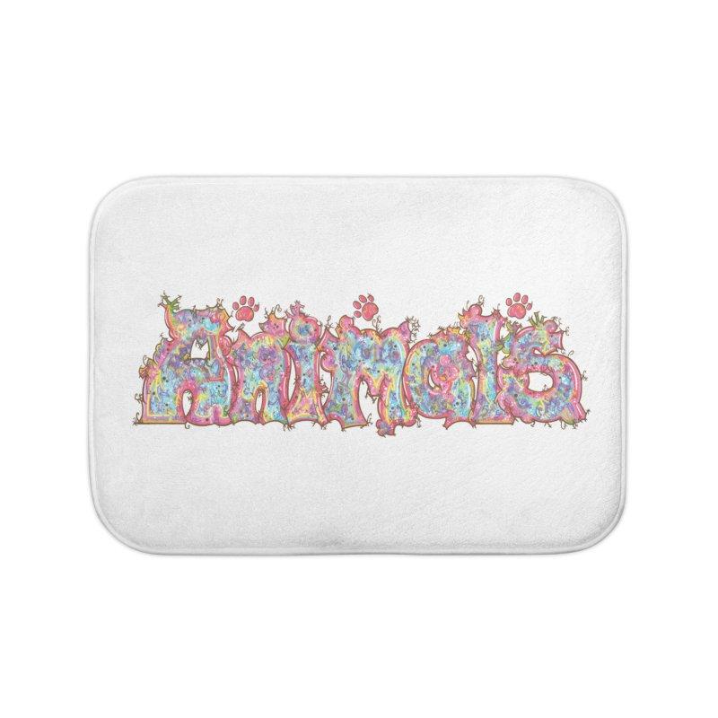 Kaleidoscopic Animals (Text) Home Bath Mat by VanillaKirsty's Artist Shop