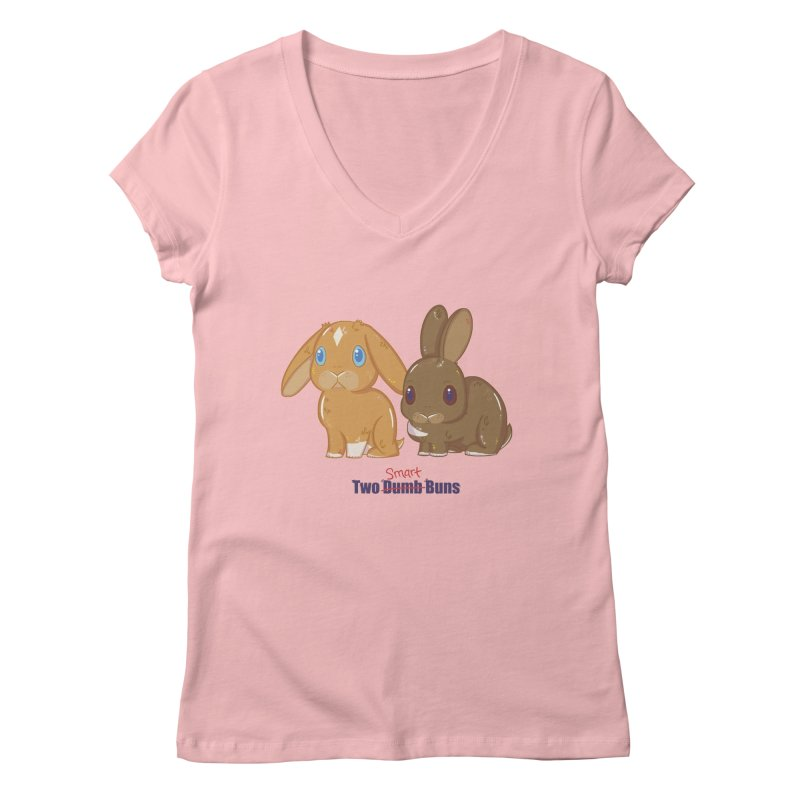Two Dumb (Smart) Buns Women's V-Neck by VanillaKirsty's Artist Shop