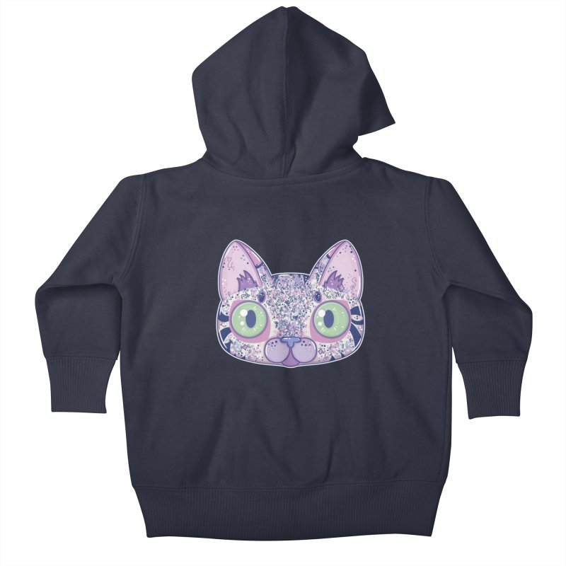 Chromatic Cat II (Purple, Blue, Pink) Kids Baby Zip-Up Hoody by VanillaKirsty's Artist Shop