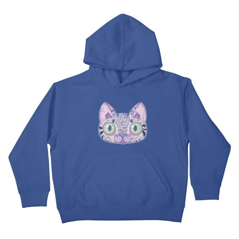 Chromatic Cat II (Purple, Blue, Pink) Kids Pullover Hoody by VanillaKirsty's Artist Shop