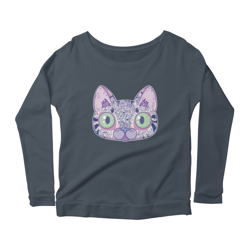 Chromatic Cat II (Purple, Blue, Pink) Women's Longsleeve Scoopneck  by VanillaKirsty's Artist Shop
