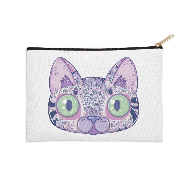 Chromatic Cat II (Purple, Blue, Pink) Accessories Zip Pouch by VanillaKirsty's Artist Shop