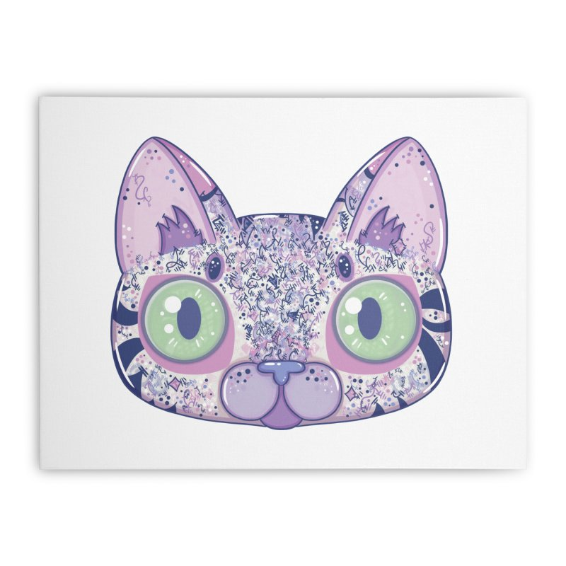 Chromatic Cat II (Purple, Blue, Pink) Home Stretched Canvas by VanillaKirsty's Artist Shop