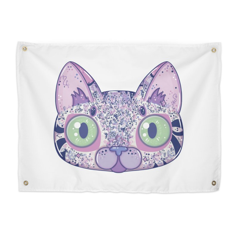 Chromatic Cat II (Purple, Blue, Pink) Home Tapestry by VanillaKirsty's Artist Shop