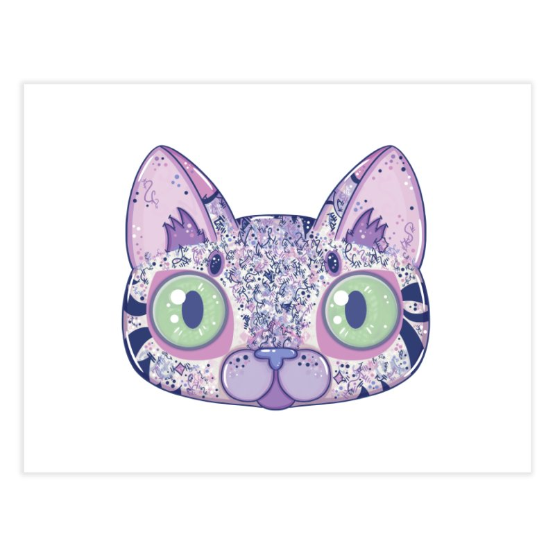 Chromatic Cat II (Purple, Blue, Pink) Home Fine Art Print by VanillaKirsty's Artist Shop