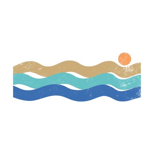 Design for Sunset waves vintage