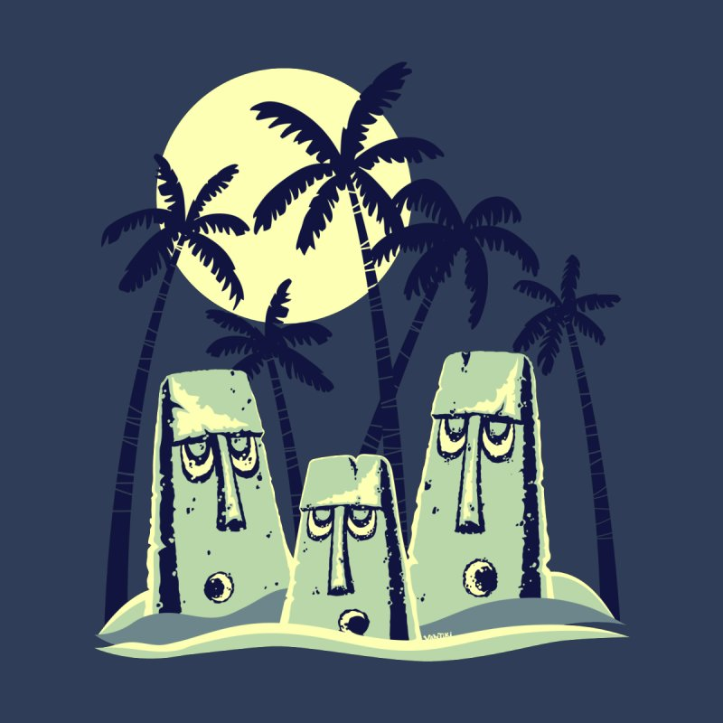 Moonlight Moai Women's Fitted T-Shirt by VanTiki's Print Shack