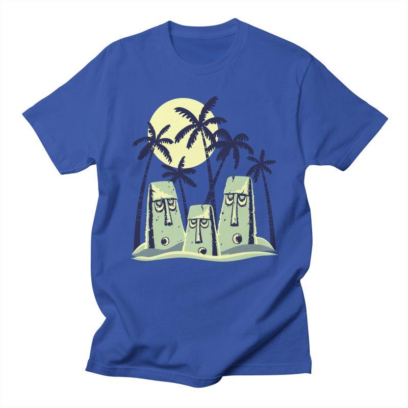 Moonlight Moai Men's T-Shirt by VanTiki's Print Shack
