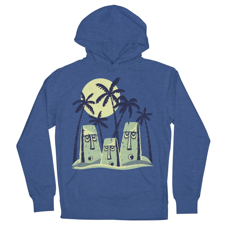 Moonlight Moai Men's French Terry Pullover Hoody by VanTiki's Print Shack
