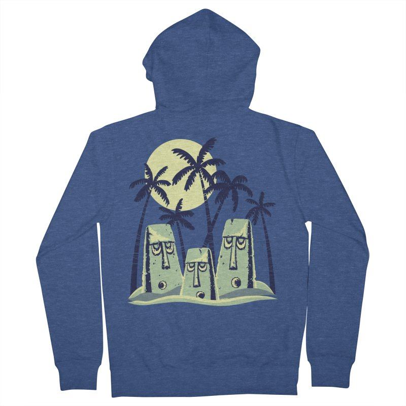 Moonlight Moai Men's French Terry Zip-Up Hoody by VanTiki's Print Shack