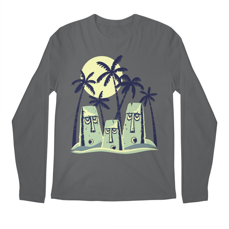 Moonlight Moai Men's Regular Longsleeve T-Shirt by VanTiki's Print Shack