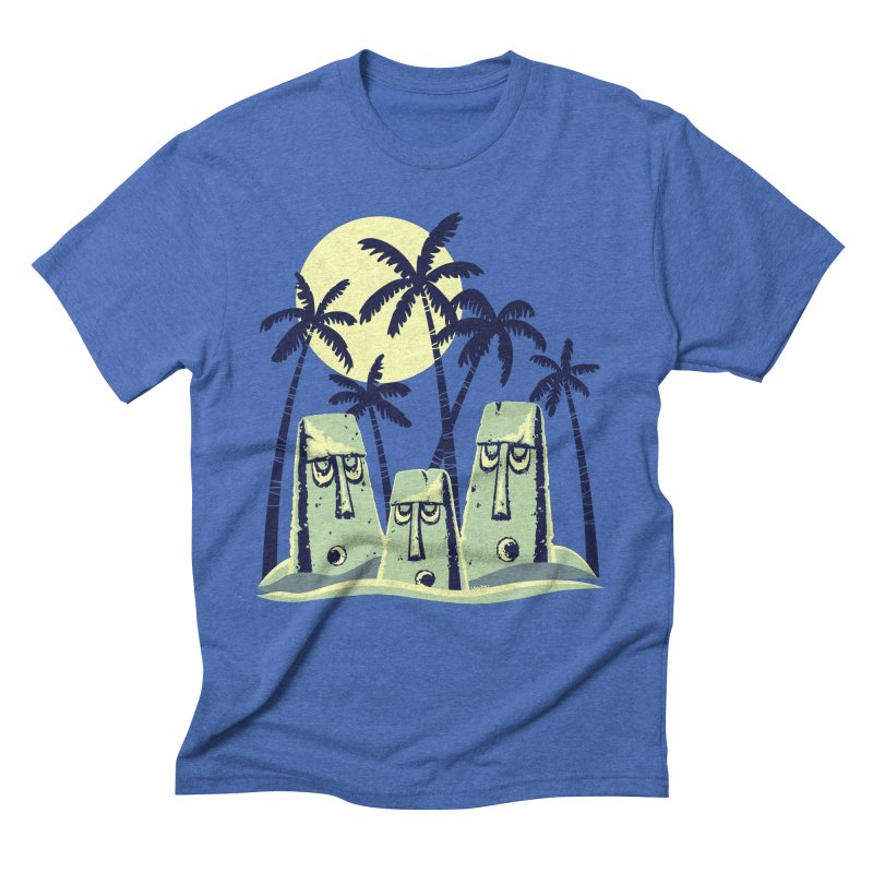 Moonlight Moai Men's Triblend T-Shirt by VanTiki's Print Shack