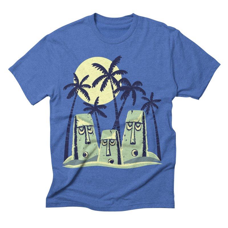 Moonlight Moai Men's Triblend T-shirt by VanTiki's Print Shack