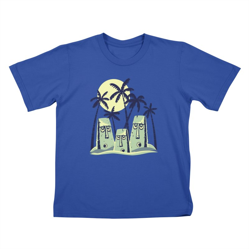 Moonlight Moai Kids T-Shirt by VanTiki's Print Shack