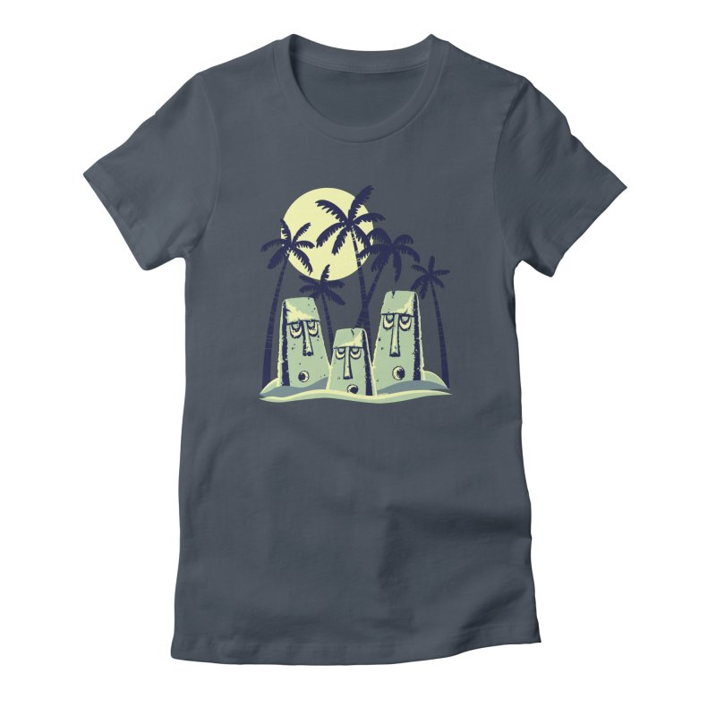 Moonlight Moai Women's T-Shirt by VanTiki's Print Shack