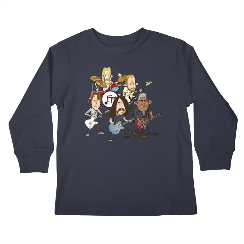 Dave & the Foo's Kids Longsleeve T-Shirt by Vargas Toons Shop