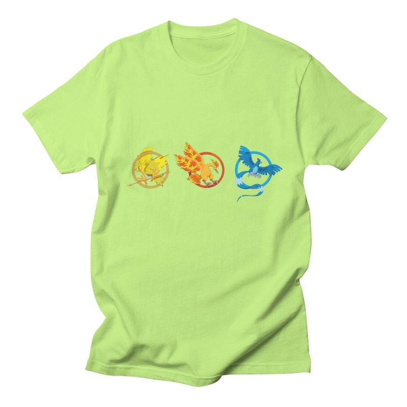 Hunger Games Catching Pokemon  Men's Regular T-Shirt by VarieTeez Designs