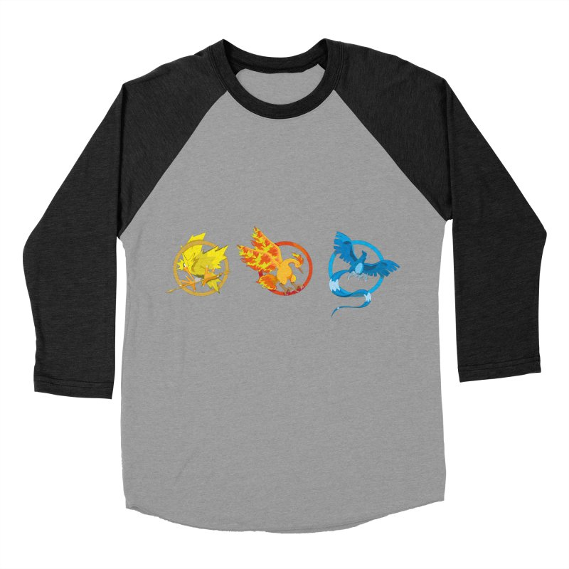 Hunger Games Catching Pokemon  Men's Baseball Triblend Longsleeve T-Shirt by VarieTeez Designs