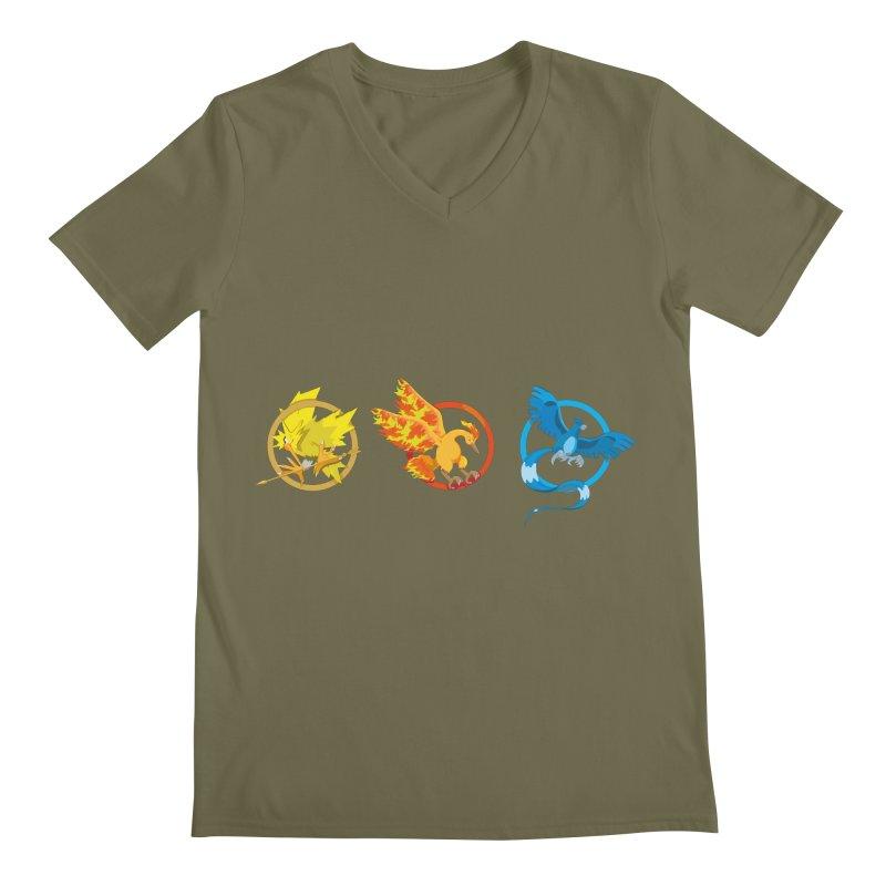 Hunger Games Catching Pokemon  Men's Regular V-Neck by VarieTeez Designs