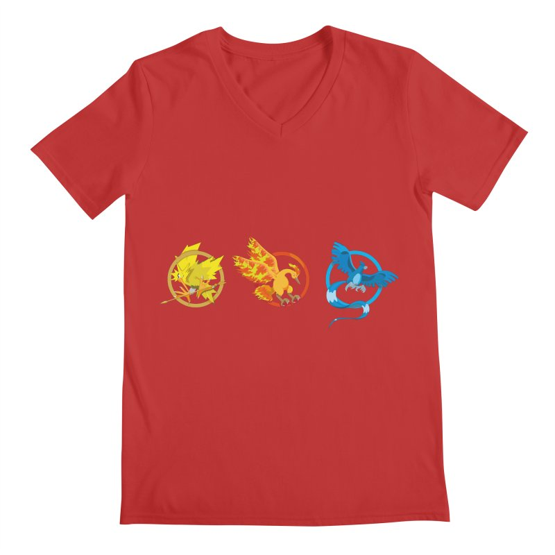 Hunger Games Catching Pokemon  Men's Regular V-Neck by VarieTeez Designs