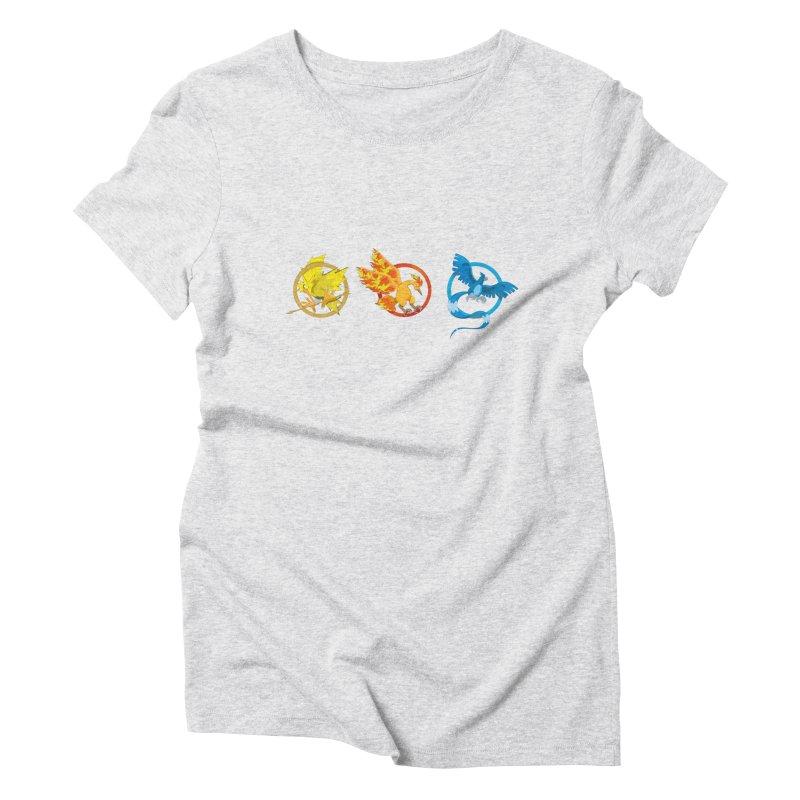 Hunger Games Catching Pokemon  Women's T-Shirt by VarieTeez Designs
