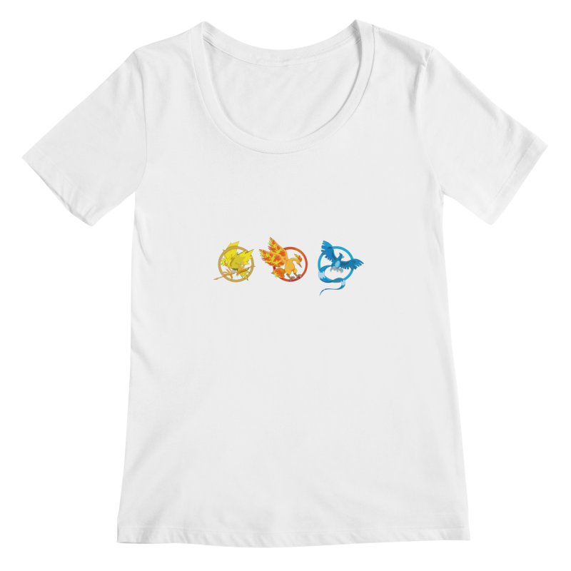 Hunger Games Catching Pokemon  Women's Scoopneck by VarieTeez Designs