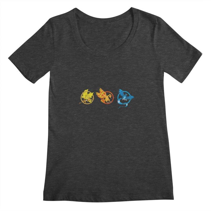Hunger Games Catching Pokemon  Women's Scoopneck by VarieTeez Designs