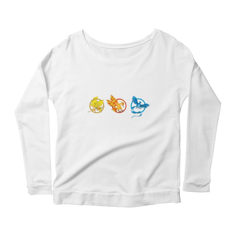 Hunger Games Catching Pokemon  Women's Scoop Neck Longsleeve T-Shirt by VarieTeez Designs