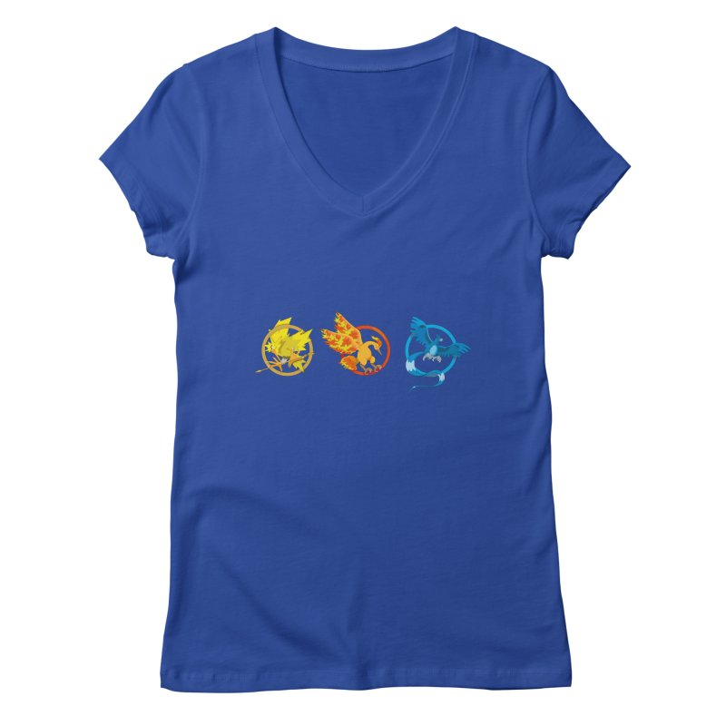 Hunger Games Catching Pokemon  Women's Regular V-Neck by VarieTeez Designs