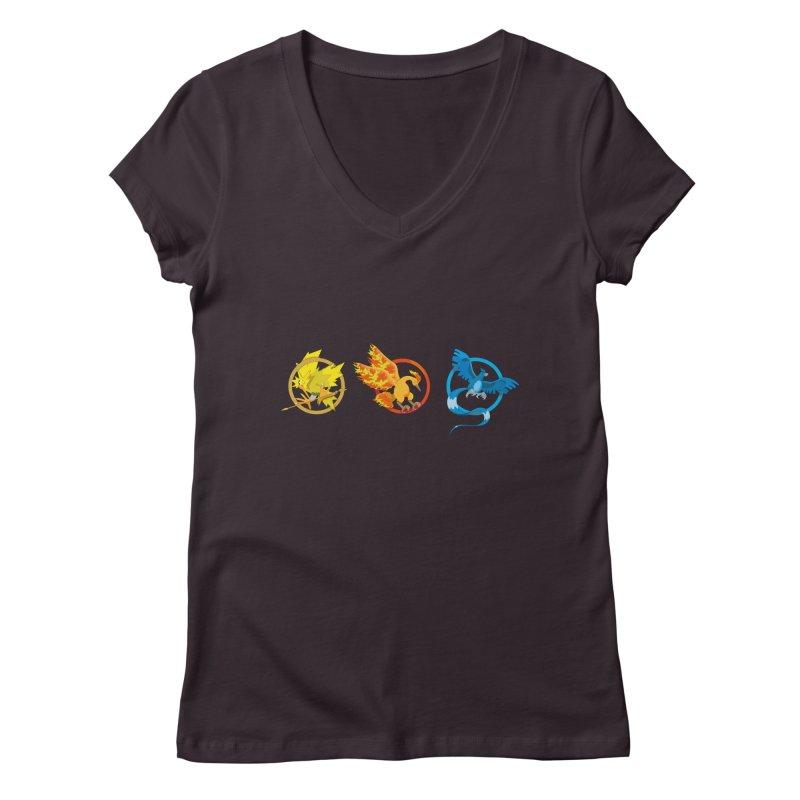 Hunger Games Catching Pokemon  Women's V-Neck by VarieTeez Designs