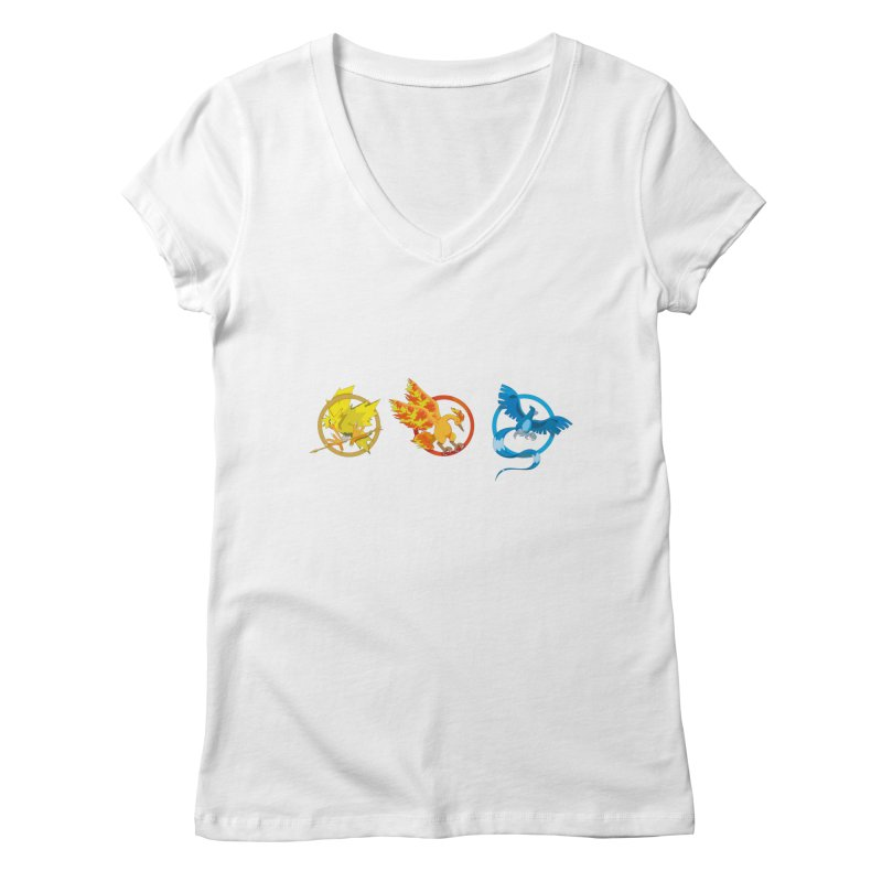 Hunger Games Catching Pokemon  Women's V-Neck by VarieTeez Designs