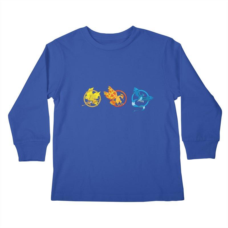 Hunger Games Catching Pokemon  Kids Longsleeve T-Shirt by VarieTeez Designs