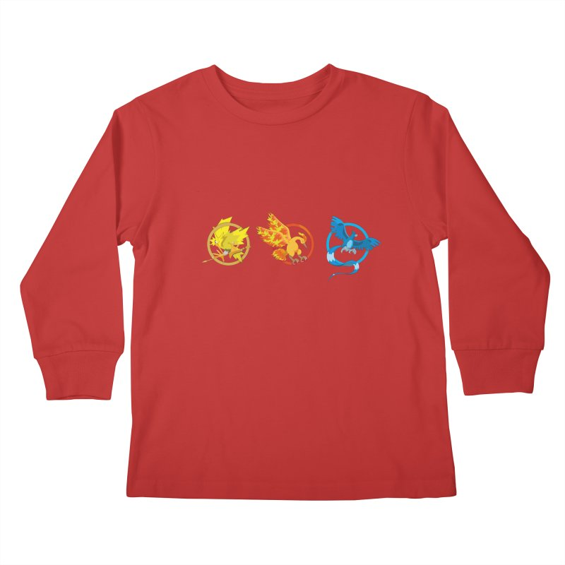 Hunger Games Catching Pokemon  Kids Longsleeve T-Shirt by VarieTeez Designs
