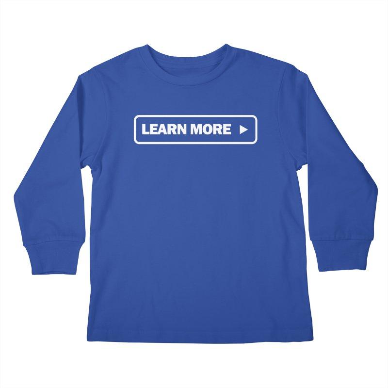 Learn More White Kids Longsleeve T-Shirt by Var x Apparel