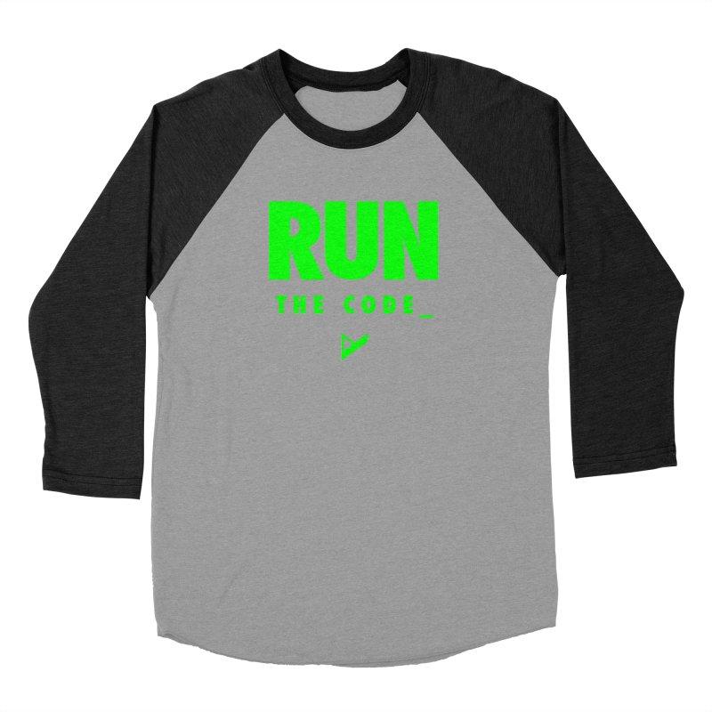 Run The Code Men's Baseball Triblend Longsleeve T-Shirt by Var x Apparel