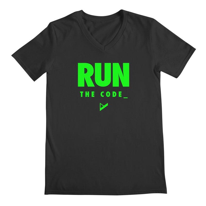 Run The Code Men's Regular V-Neck by Var x Apparel