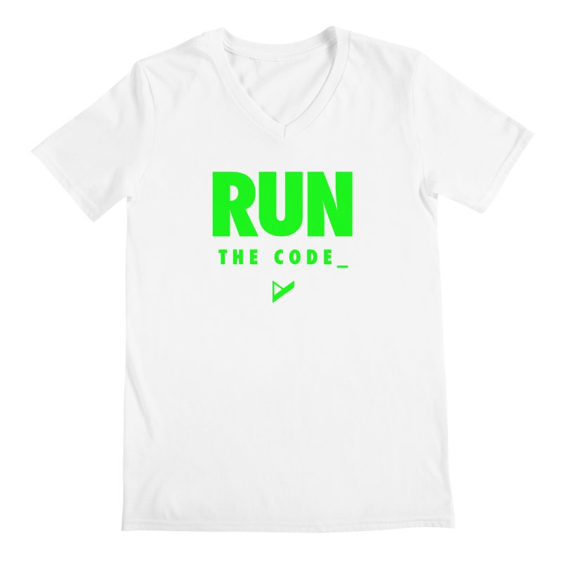 Run The Code Men's Regular V-Neck by Var x Apparel