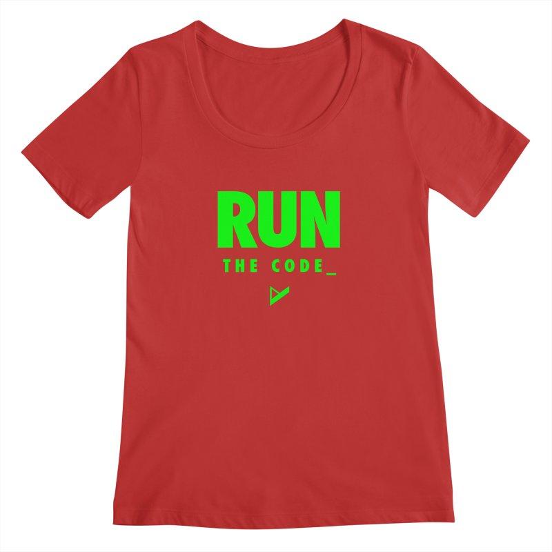 Run The Code Women's Regular Scoop Neck by Var x Apparel