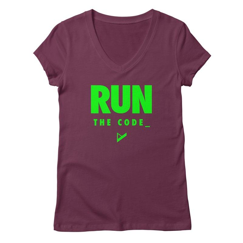 Run The Code Women's Regular V-Neck by Var x Apparel