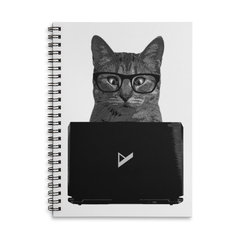 Cat Coding Accessories Lined Spiral Notebook by Var x Apparel