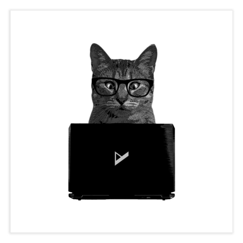 Cat Coding Home Fine Art Print by Var x Apparel