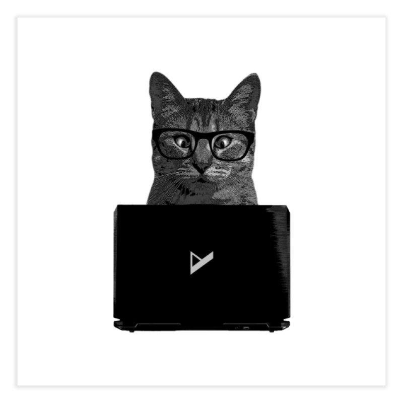 Cat Coding Home Fine Art Print by Var x Apparel