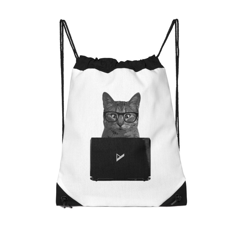 Cat Coding Accessories Drawstring Bag Bag by Var x Apparel