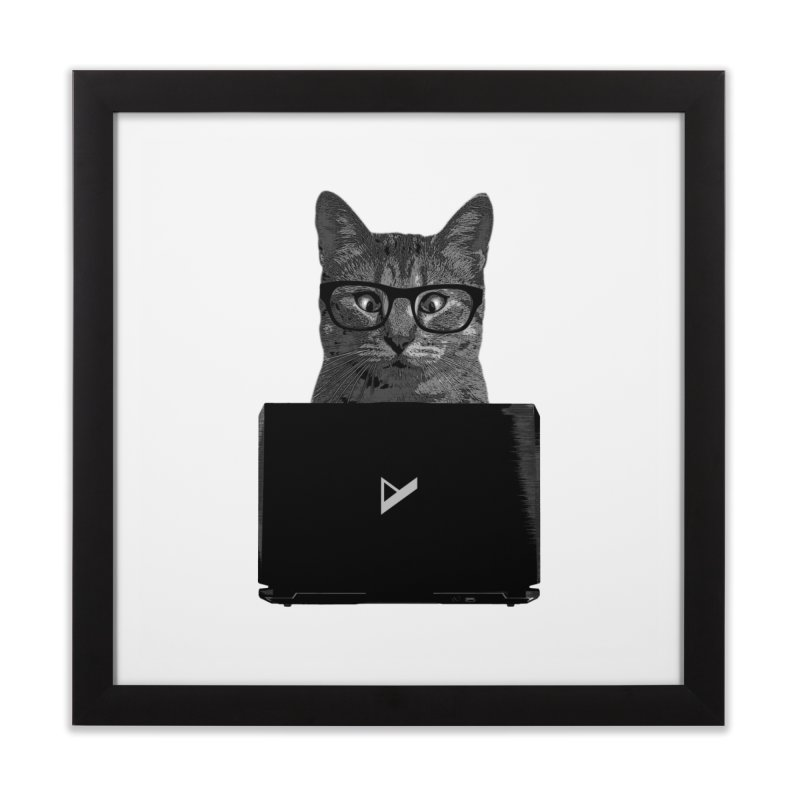 Cat Coding Home Framed Fine Art Print by Var x Apparel