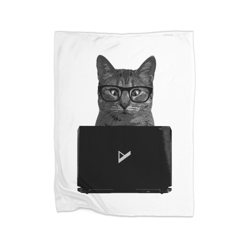 Cat Coding Home Fleece Blanket Blanket by Var x Apparel