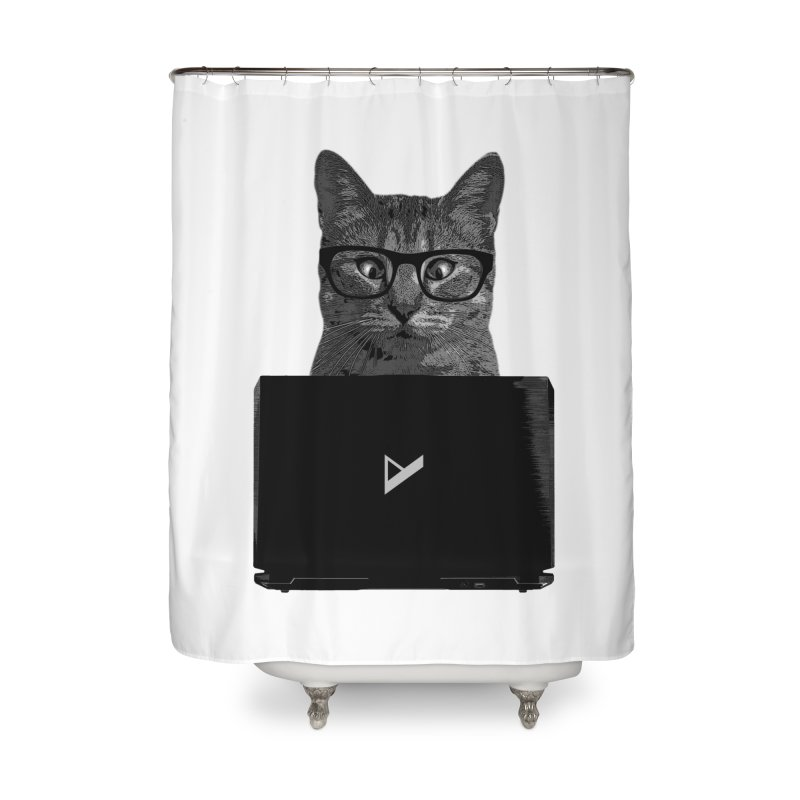 Cat Coding Home Shower Curtain by Var x Apparel