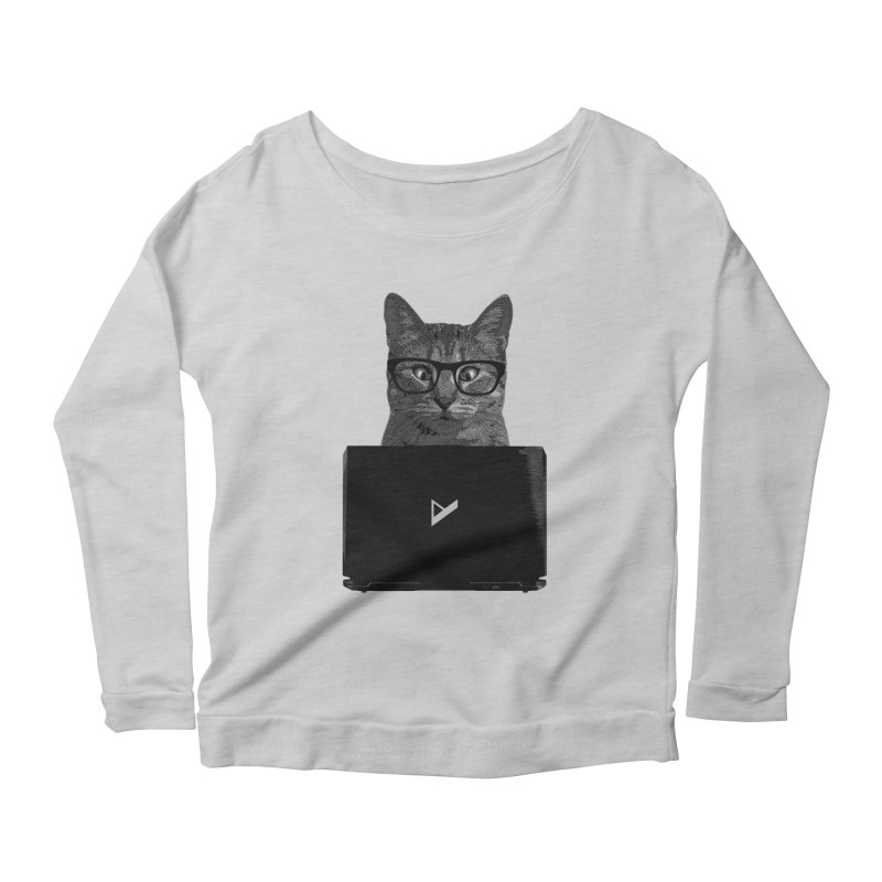 Cat Coding Women's Scoop Neck Longsleeve T-Shirt by Var x Apparel