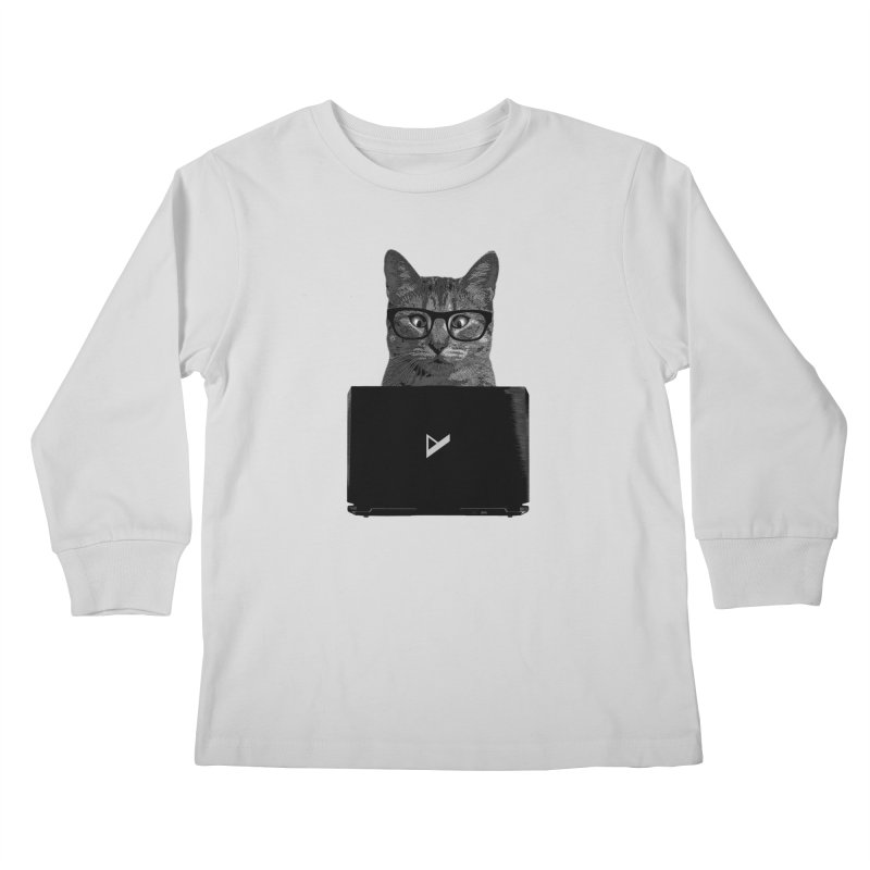 Cat Coding Kids Longsleeve T-Shirt by Var x Apparel
