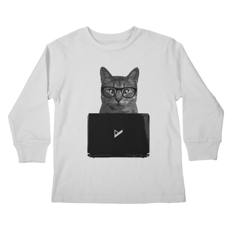 Cat Coding Kids Longsleeve T-Shirt by Var x Apparel