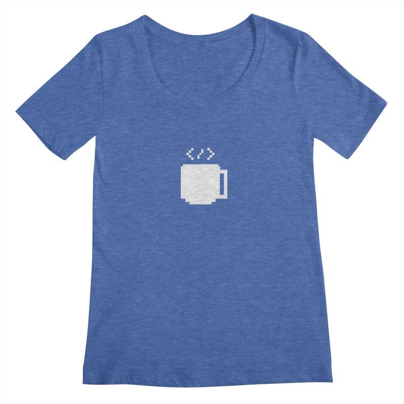 Code and Coffee Women's Regular Scoop Neck by Var x Apparel